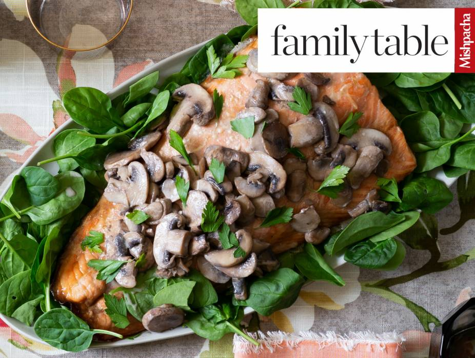 Marinated  Salmon  Topped  With  Creamy  Mushrooms