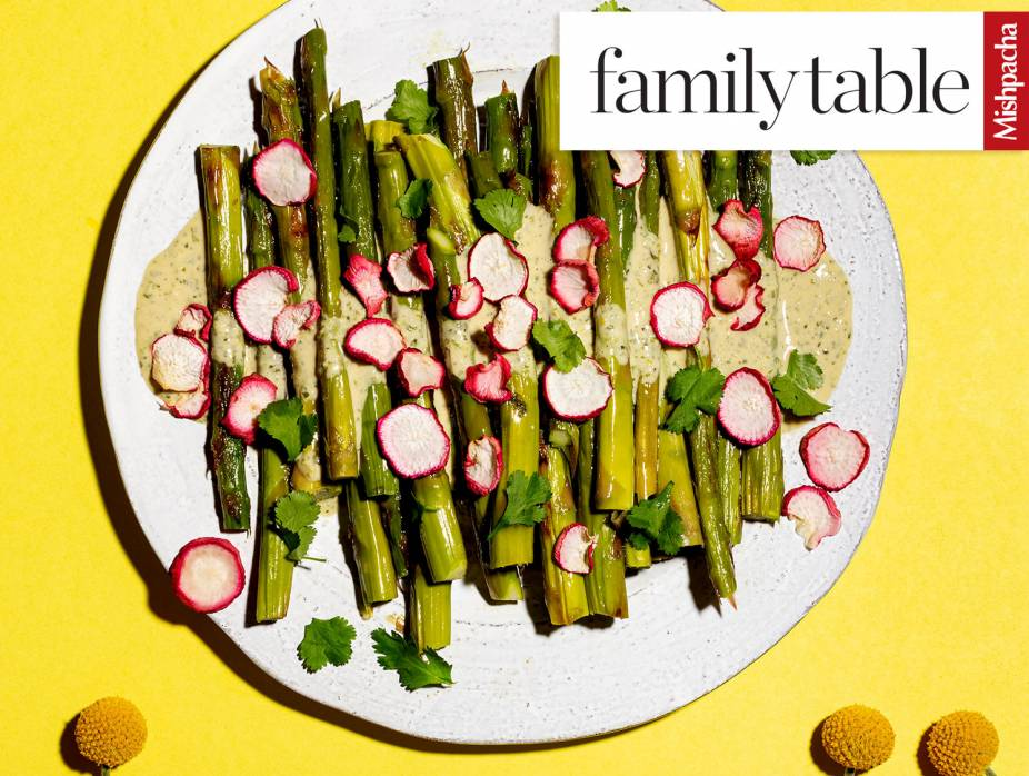 Blistered Asparagus with Cilantro Balsamic Drizzle