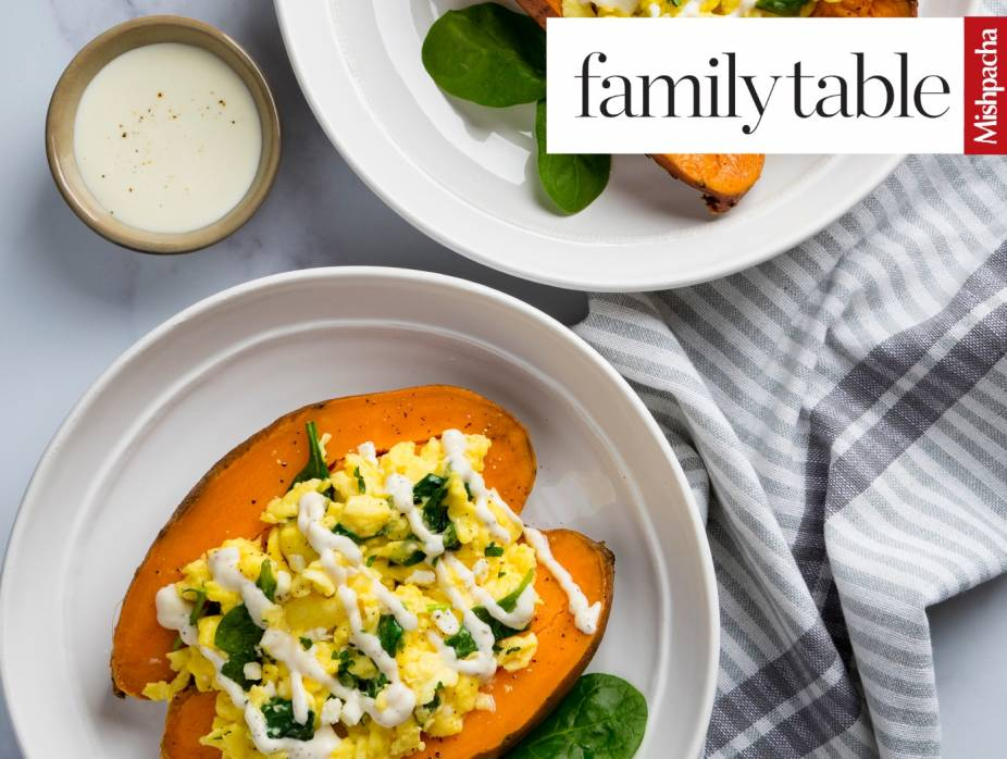 Feta-and-Spinach Scramble in Sweet Potatoes with Hollandaise Sauce
