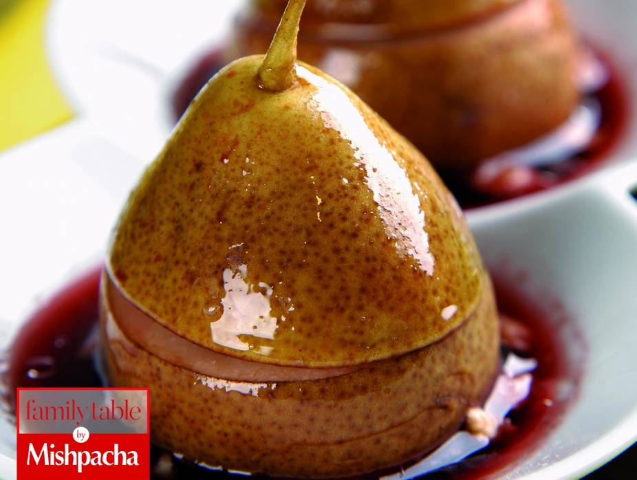 Nut-Filled Pears Baked in Red Wine