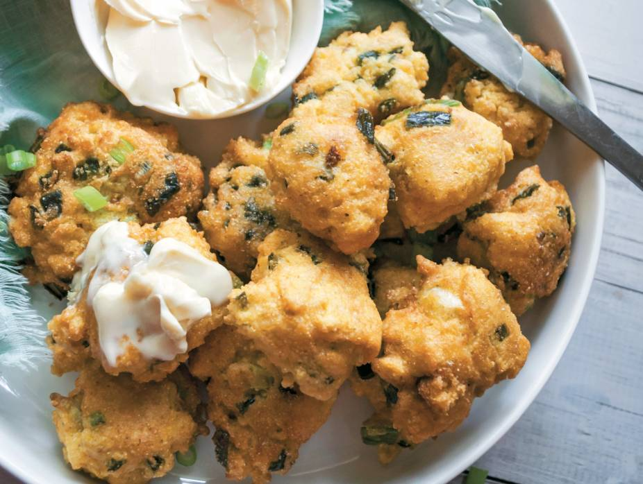 Candied Jalapeño Hushpuppies with Sweet Butter