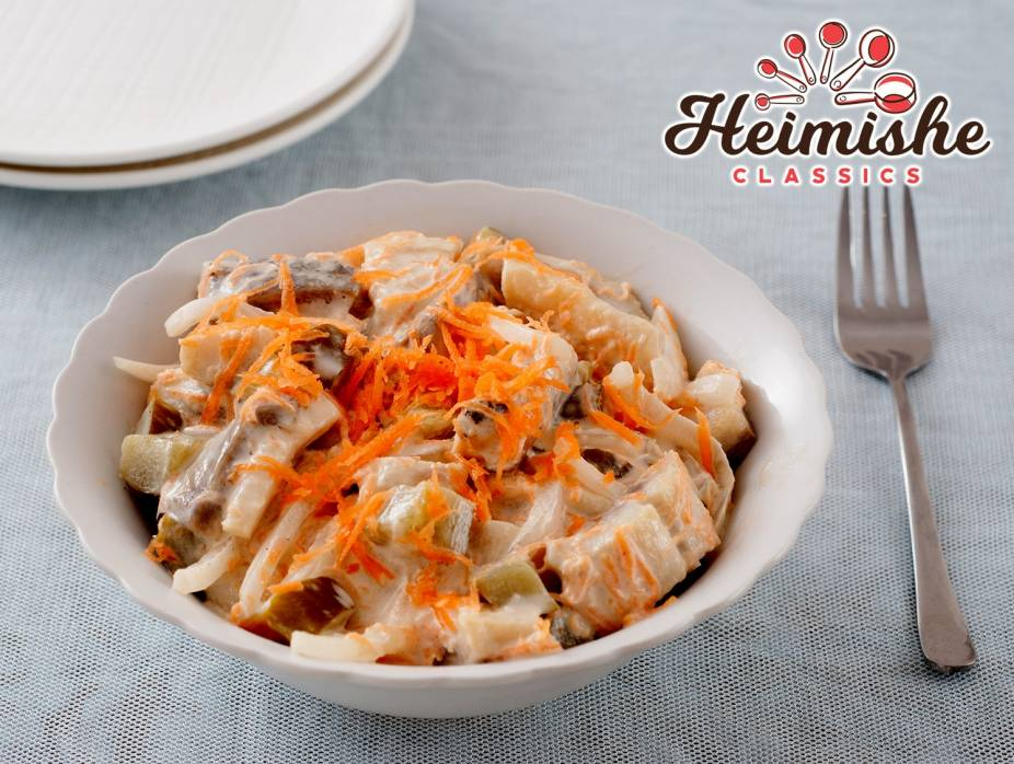 Creamy Herring Salad with Pickles and Carrots