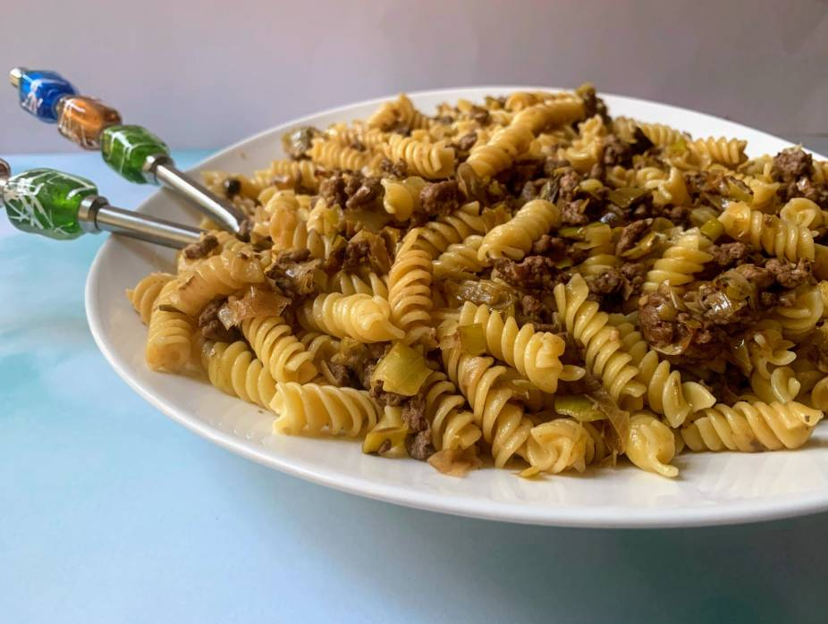 Leek and Meat Pasta