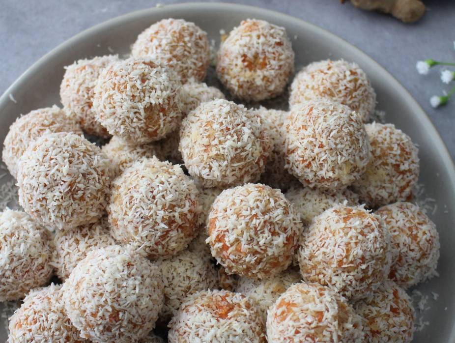 Raw Carrot Coconut and Ginger Energy Balls for Passover