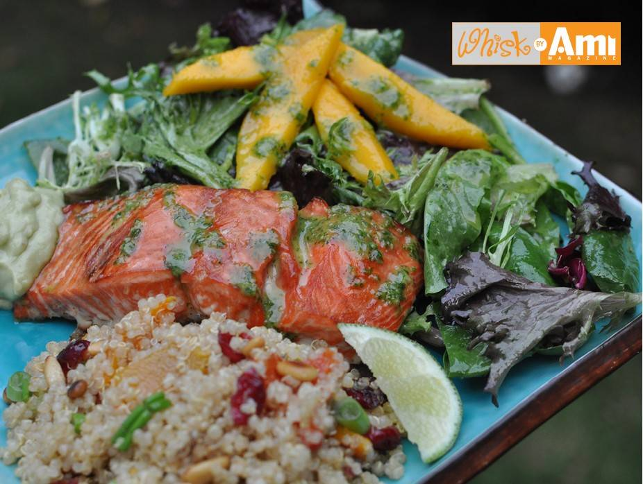 Maple Soy Glazed Salmon with Avocado Cream, Greens with Ginger Cilantro Dressing
