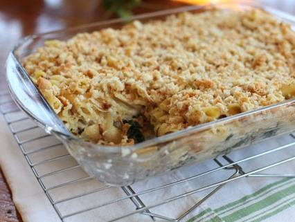 Pasta Al Forno with Three Cheeses, Spinach and Caramelized Shallots