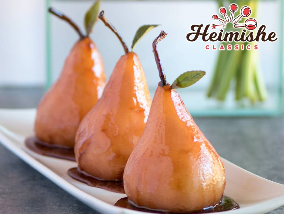 Pink Poached Pears in Wine