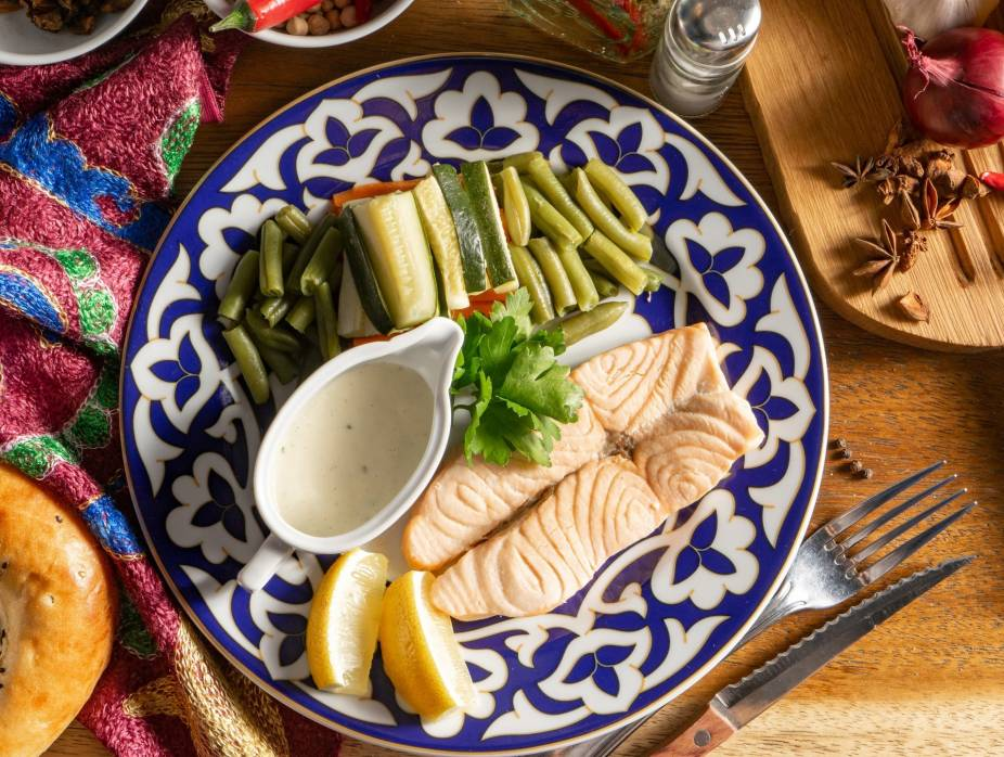 Microwave Poached Salmon with Lemon Sauce