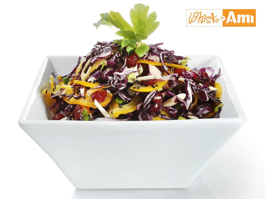 Purple Cabbage and Yellow Pepper Slaw