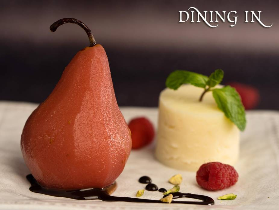 Raspberry Poached Pears