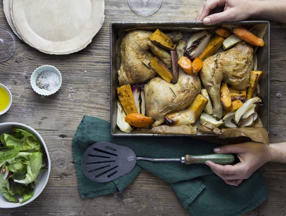 Roasted Chicken Bottoms with Olive Oil, Rosemary, and Root Vegetables