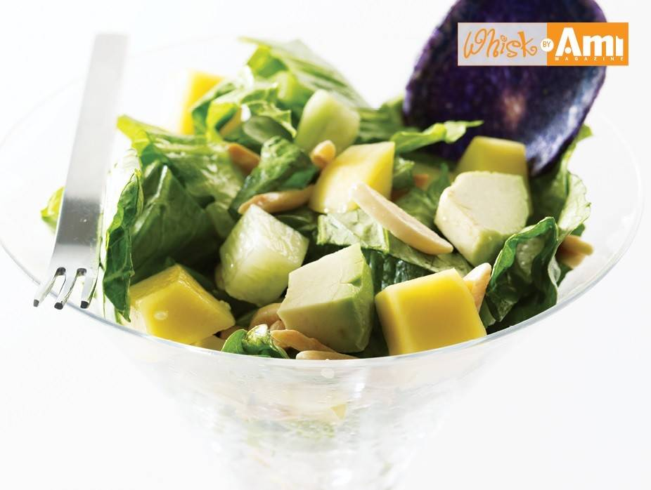 Romaine Salad with Avocado, Cucumber, and Mango with Citrus Dressing