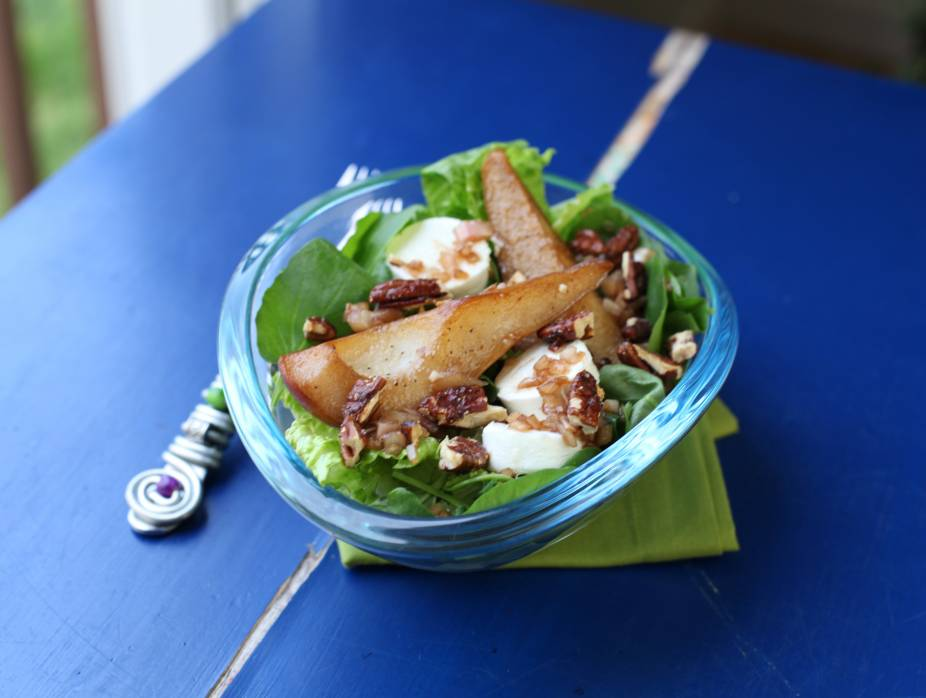 Pan Roasted Pear and Goat Cheese Salad