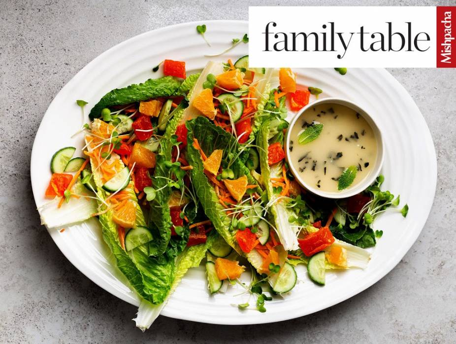 Delicious and Different Salad with Lemon-Mint Dressing
