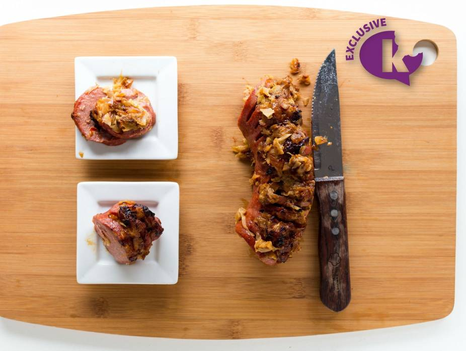 Sweet and Sour Onion and Cabbage Stuffed Salami