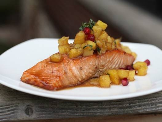 Salmon with Warm Pineapple Salsa