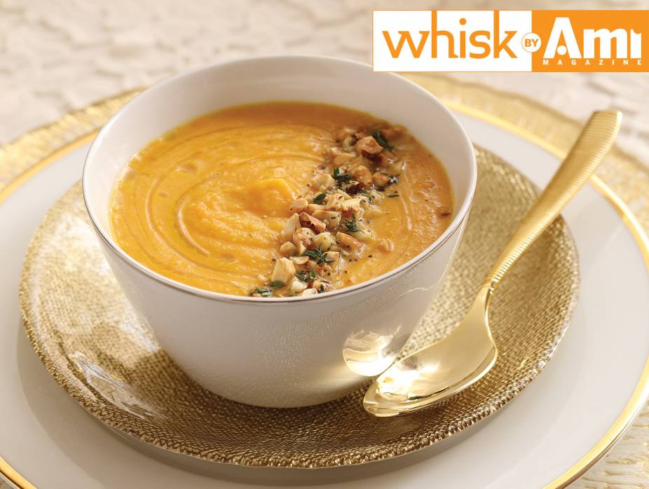 Roasted Carrot and Parsnip Soup with Hazelnut Crunch