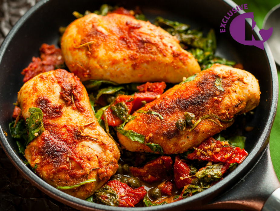 8PM- Chicken with Spinach, Capers, and Sun-dried Tomatoes