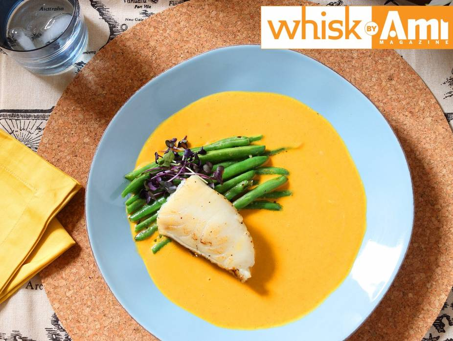 Sous-Vide Sea Bass in Carrot-Ginger Velouté Sauce with Sautéed String Beans