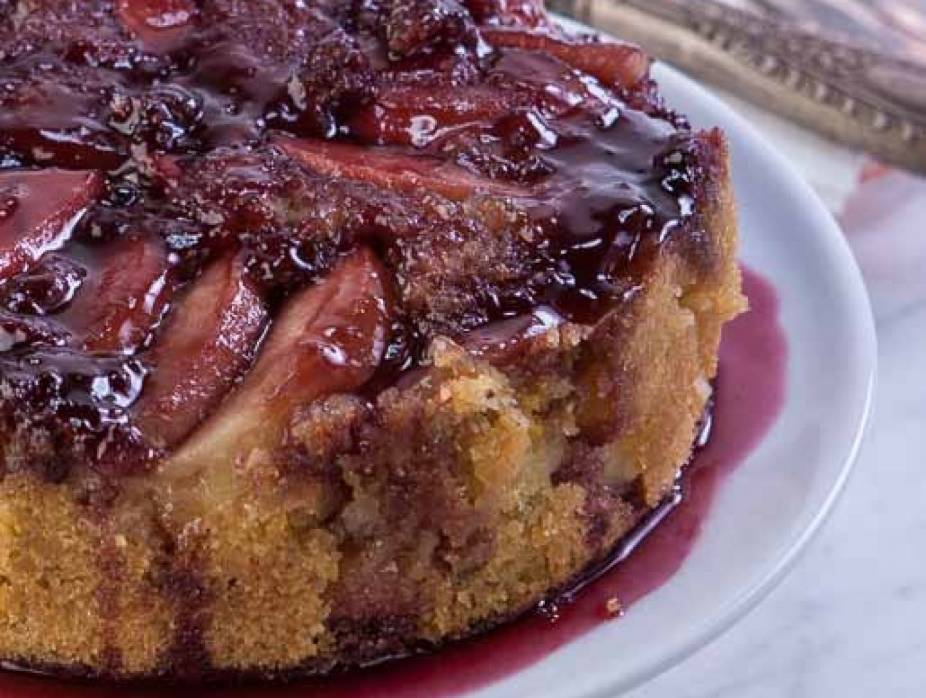 Apple Upside-Down Cake with Honey Pomegranate Syrup