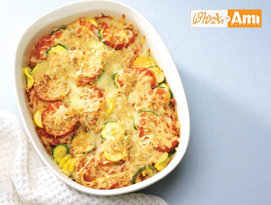 Summer Squash and Tomato Gratin with Crunchy Cheese Topping