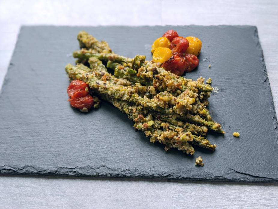 Pistachio Parmesan Asparagus with Blistered Herbed Tomatoes