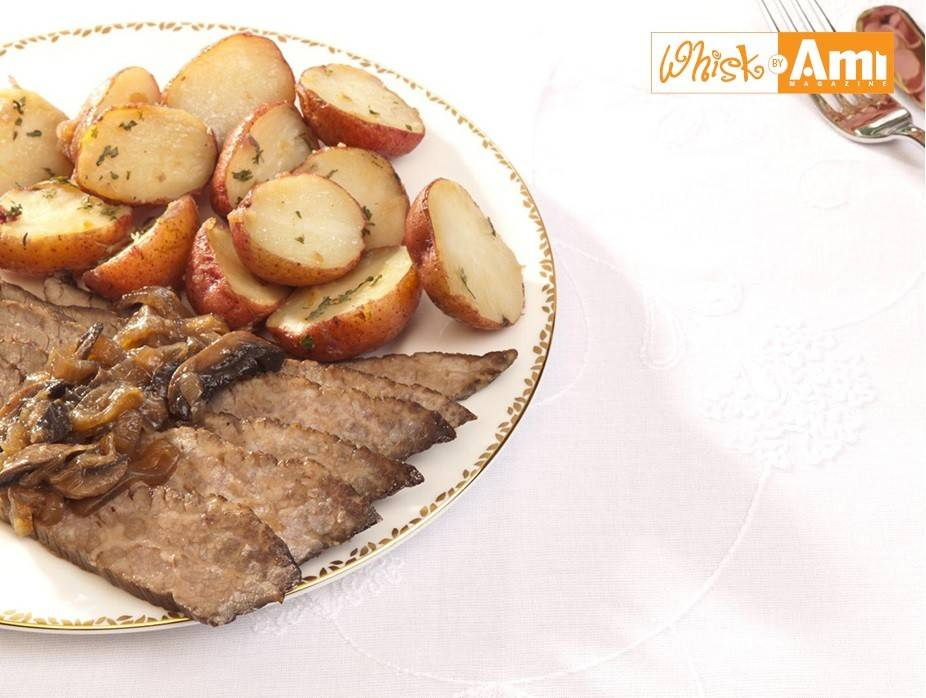 Wine-Flavored Mini Red Potatoes and Essence of Coffee Brisket