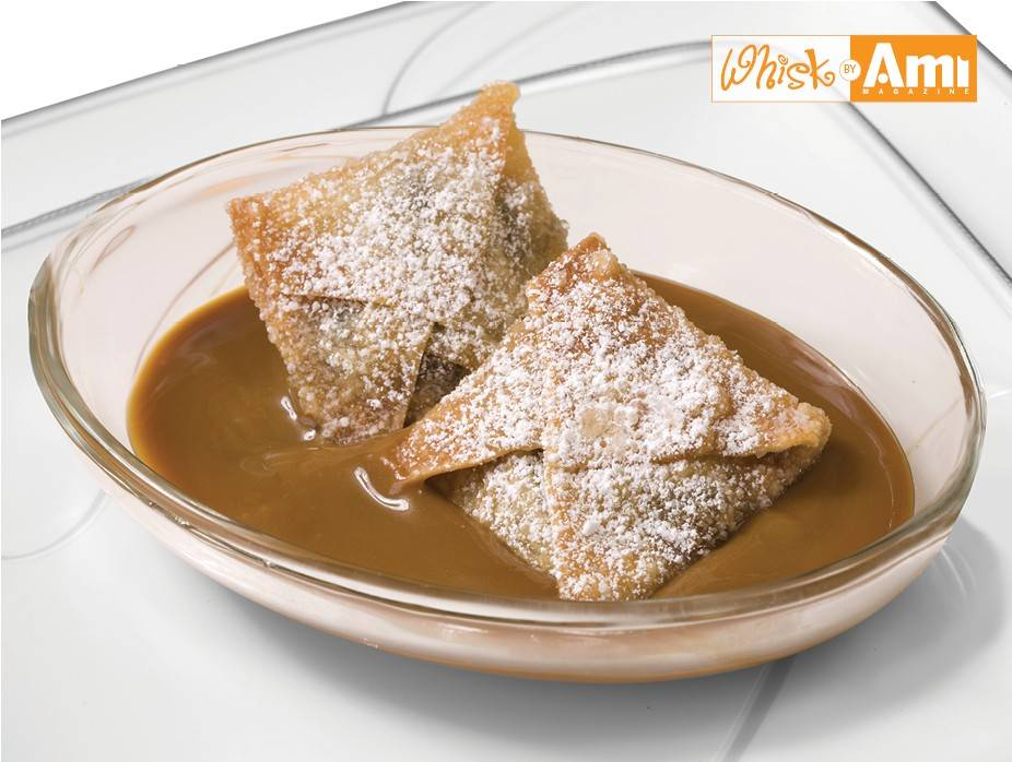 Powdered Chocolate Wontons with Caramel Sauce