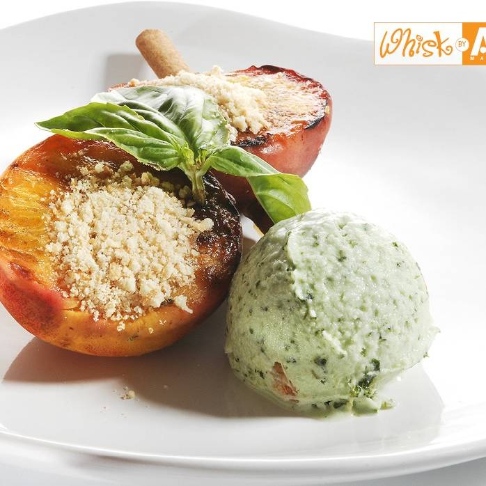 Balsamic Grilled Peaches with Basil Pistachio Ice Cream on Cinnamon ...