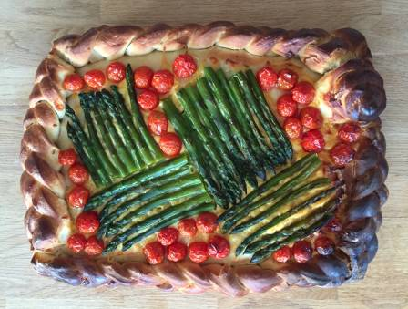 Challah Mummy's Roasted Asparagus and Tomato Challah Tart