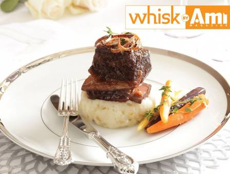 Braised Short Ribs with Glazed Carrots and Crispy Shallots