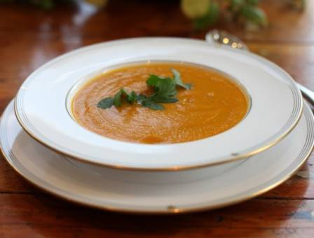 Roasted Carrot Soup with Coriander