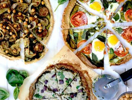Cauliflower Pizza with Pesto (3 Ways)