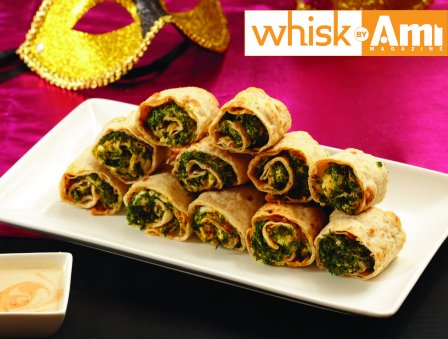 Chicken Mustard Wheels with Hot Tahini Dipping Sauce