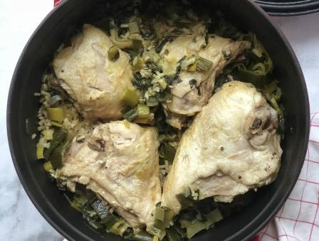 Chicken and Rice with Leek and Swiss Chard