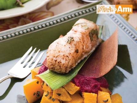 Chilean Sea Bass Surprise with Roasted Beet Puree