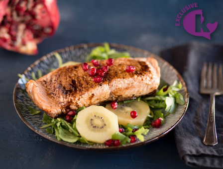 Balsamic Salmon over Pomegranate and Golden Kiwi Arugula Salad