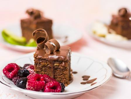 Chocolate Cake with Praline Topping