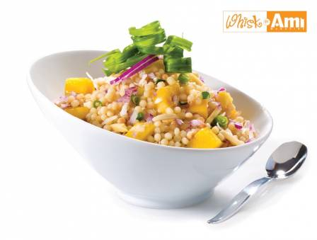 Coconut Couscous with Lime Syrup and Mango