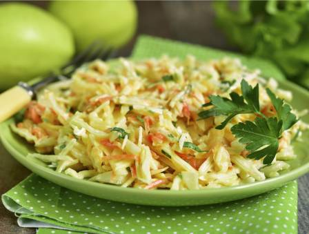Cabbage Cucumber Apple Slaw