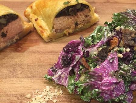 Salmon Wellington and Purple Kale Caesar Salad