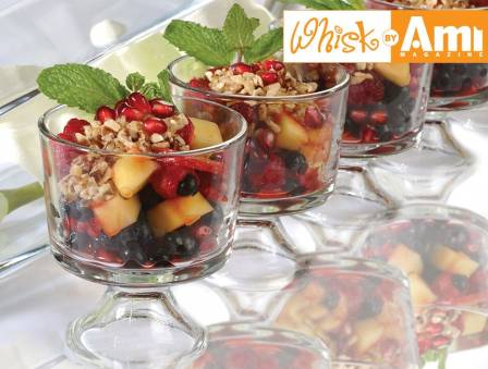 Fruit Salad with Balsamic-Strawberry Coulis and Pomegranate Seeds