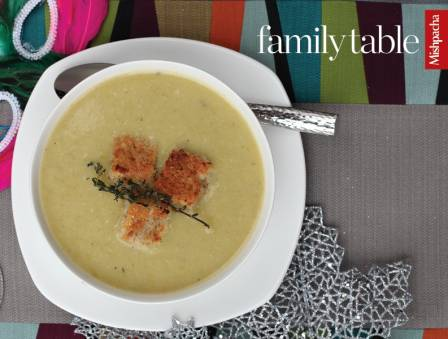 Cream of Celery and Asparagus Soup with Savory Herb Croutons