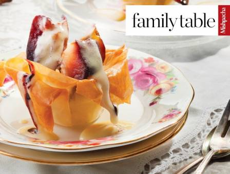 Caramelized Apples in Phyllo Baskets with Zabaglione Sauce