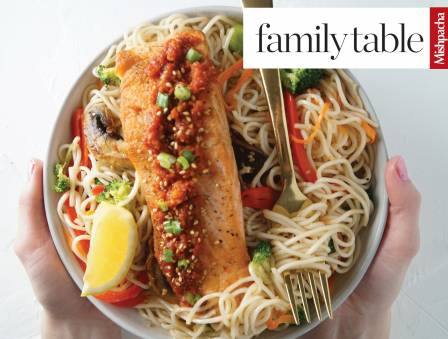 Sun-Dried Tomato Pesto Lo Mein with Grilled Salmon