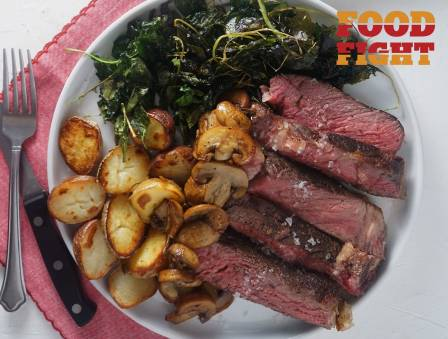 Steak with Baby Potatoes and Kale Chips