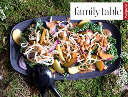 Peach Kale Salad with Fried Rice Noodles