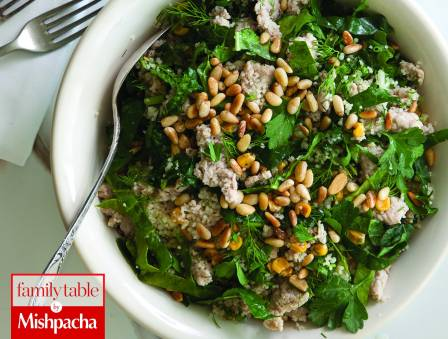 Kale and Couscous Salad with Ground Veal