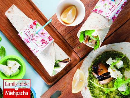 Wraps with Grilled Portabello, Feta Cheese, and Pesto