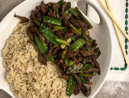 Ginger Beef with Steamed Brown Rice